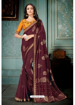 Maroon Party Wear Designer Embroidered Vivhitra Silk Sari