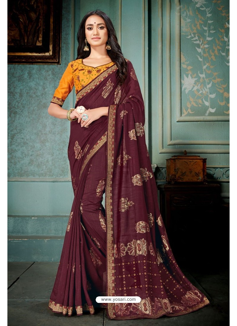 Maroon Party Wear Designer Embroidered Vivhitra Silk Sari