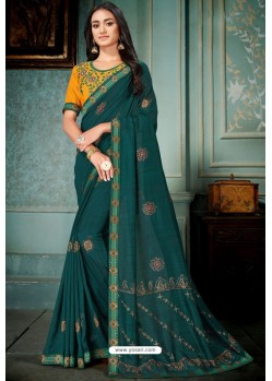 Teal Party Wear Designer Embroidered Vivhitra Silk Sari