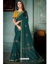 Teal Party Wear Designer Embroidered Vivhitra Silk Sari