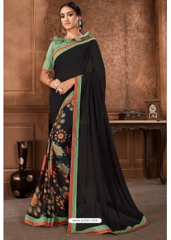 Black Casual Wear Designer Printed Georgette Sari