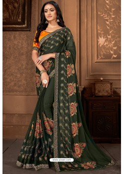 Mehendi Casual Wear Designer Printed Georgette Sari