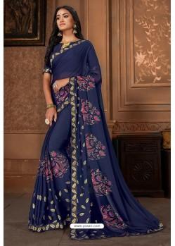 Navy Blue Casual Wear Designer Printed Georgette Sari
