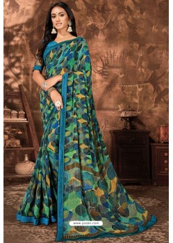 Blue Casual Wear Designer Printed Georgette Sari