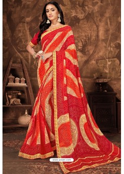 Red Casual Wear Designer Printed Georgette Sari