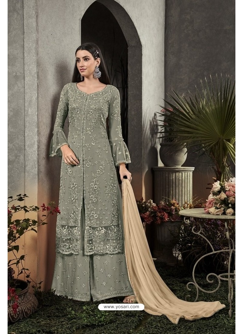 Grayish Green Designer Heavy Faux Georgette Pakistani Suit