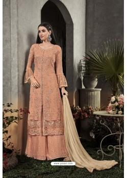 Light Orange Designer Heavy Faux Georgette Pakistani Suit