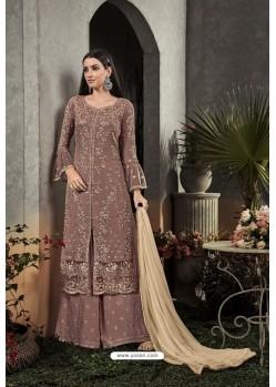 Light Brown Designer Heavy Faux Georgette Pakistani Suit