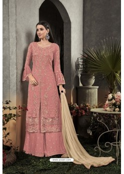 Light Red Designer Heavy Faux Georgette Pakistani Suit