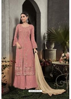 Light Red Designer Heavy Faux Georgette Pakistani Suit