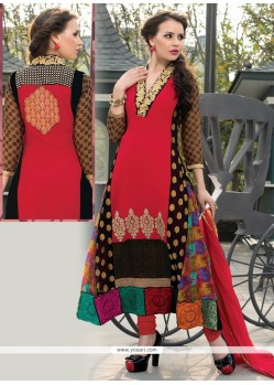 Gilded Georgette Red Churidar Salwar Suit