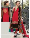Gilded Georgette Red Churidar Salwar Suit