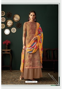 Rust Designer Casual Wear Pashmina Palazzo Salwar Suit