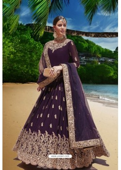 Purple Latest Heavy Faux Georgette Embroidered Designer Wedding Anarkali Suit