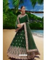 Dark Green Latest Heavy Faux Georgette Embroidered Designer Wedding Anarkali Suit