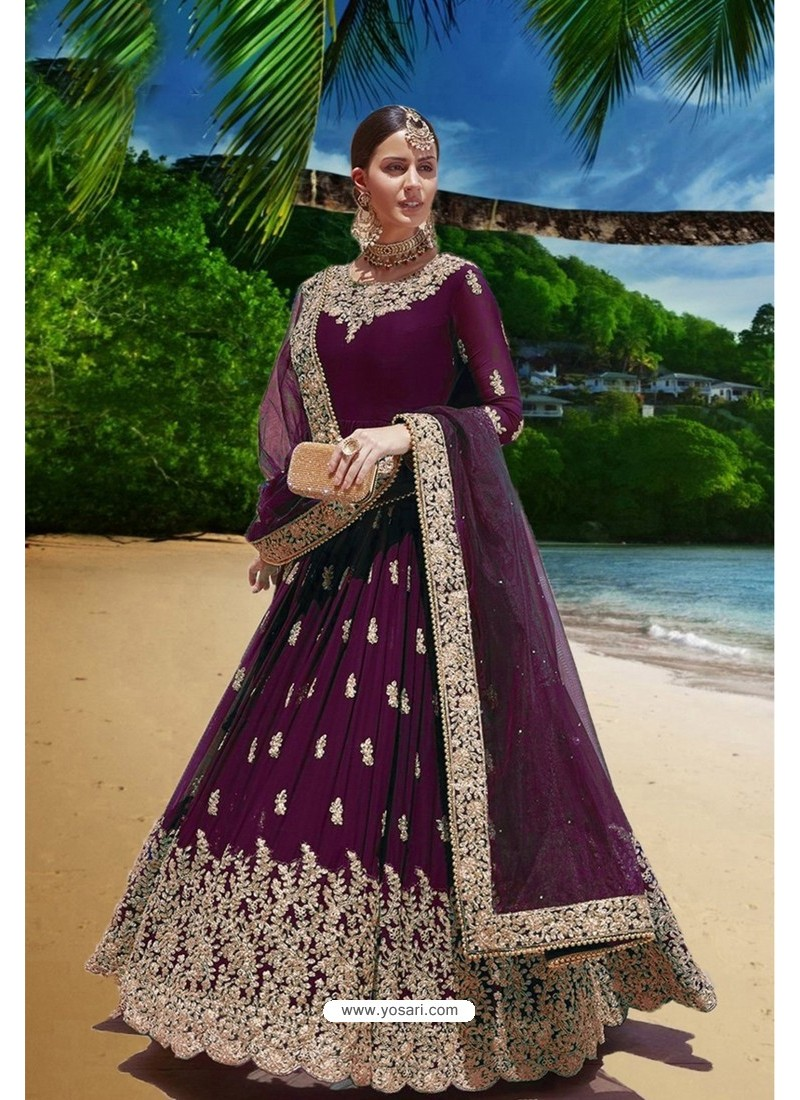 Deep Wine Latest Heavy Faux Georgette Embroidered Designer Wedding Anarkali Suit