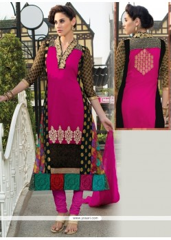 Engrossing Georgette Resham Work Churidar Salwar Suit