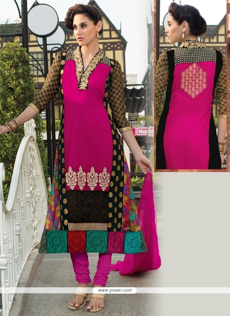 Engrossing Georgette Resham Work Churidar Salwar Suit