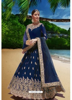 Dark Blue Latest Heavy Faux Georgette Embroidered Designer Wedding Anarkali Suit