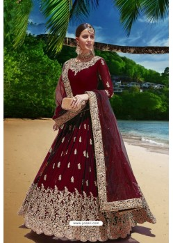 Maroon Latest Heavy Faux Georgette Embroidered Designer Wedding Anarkali Suit