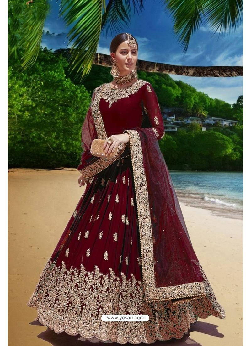Maroon Latest Heavy Faux Georgette Embroidered Designer Wedding Anarkali Suit