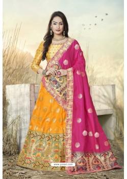 Yellow Heavy Embroidered Designer Banarasi Silk Jacquard Party Wear Lehenga