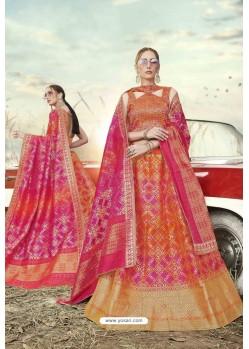 Multi Colour Heavy Embroidered Designer Banarasi Silk Jacquard Party Wear Lehenga