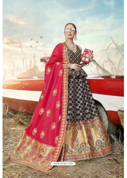 Carbon Heavy Embroidered Designer Banarasi Silk Jacquard Party Wear Lehenga