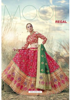 Rani Heavy Embroidered Designer Banarasi Silk Jacquard Party Wear Lehenga
