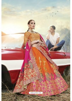 Orange Heavy Embroidered Designer Banarasi Silk Jacquard Party Wear Lehenga