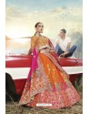 Orange Heavy Embroidered Designer Banarasi Silk Jacquard Party Wear Lehenga