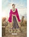 Navy Blue Heavy Embroidered Designer Banarasi Silk Jacquard Party Wear Lehenga