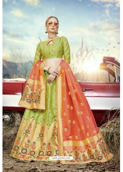 Parrot Green Heavy Embroidered Designer Banarasi Silk Jacquard Party Wear Lehenga