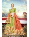 Parrot Green Heavy Embroidered Designer Banarasi Silk Jacquard Party Wear Lehenga