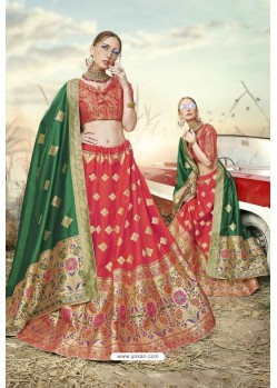 Red Heavy Embroidered Designer Banarasi Silk Jacquard Party Wear Lehenga