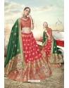 Red Heavy Embroidered Designer Banarasi Silk Jacquard Party Wear Lehenga