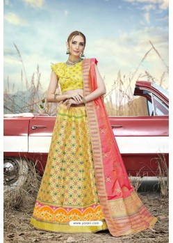 Lemon Heavy Embroidered Designer Banarasi Silk Jacquard Party Wear Lehenga