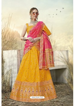 Corn Heavy Embroidered Designer Banarasi Silk Jacquard Party Wear Lehenga