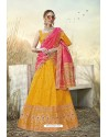 Corn Heavy Embroidered Designer Banarasi Silk Jacquard Party Wear Lehenga
