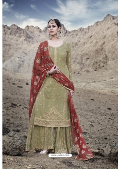 Olive Green Designer Party Wear Georgette Sharara Suit