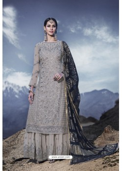 Grey Designer Party Wear Georgette Sharara Suit