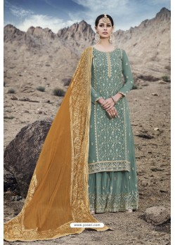 Teal Designer Party Wear Georgette Sharara Suit