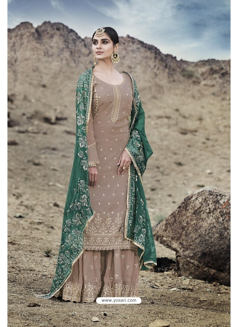 Dusty Brown Designer Party Wear Georgette Sharara Suit
