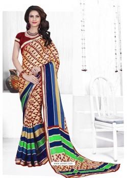 Cream Casual Wear Designer American Chiffon Sari