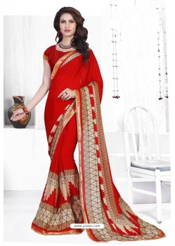 Red Casual Wear Designer American Chiffon Sari