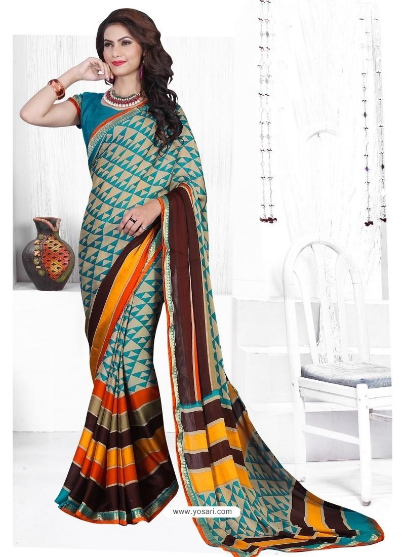 Turquoise Casual Wear Designer American Chiffon Sari