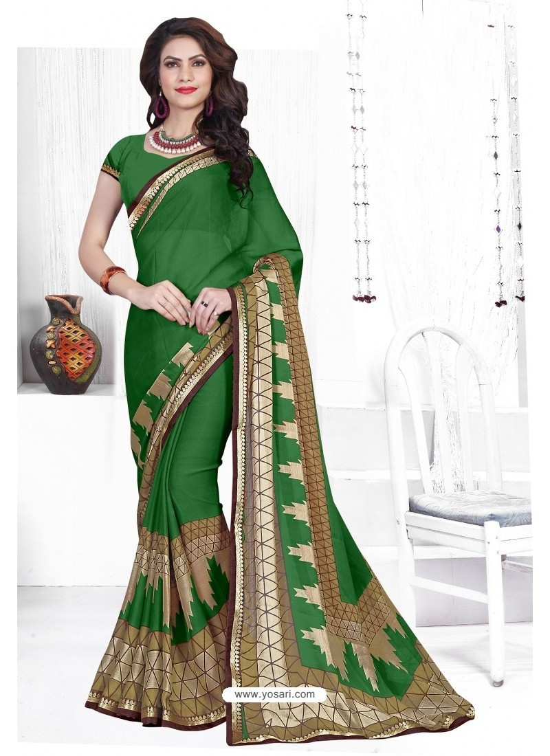 Forest Green Casual Wear Designer American Chiffon Sari
