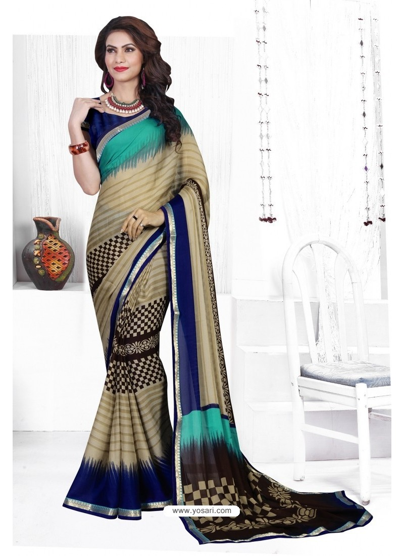 Multi Colour Casual Wear Designer American Chiffon Sari