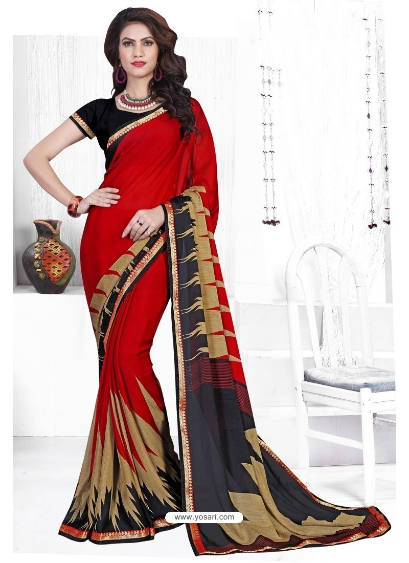 Red Casual Wear Designer American Chiffon Sari