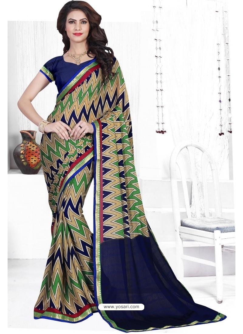 Taupe Casual Wear Designer American Chiffon Sari